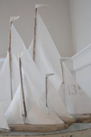 Small Fleet of Driftwood Sailboats