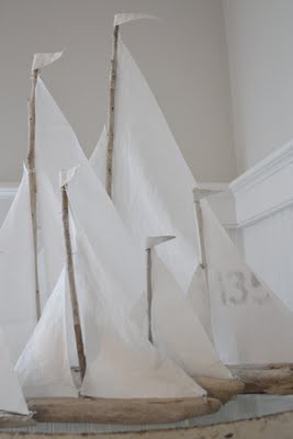 Small Fleet of Driftwood Sailboats