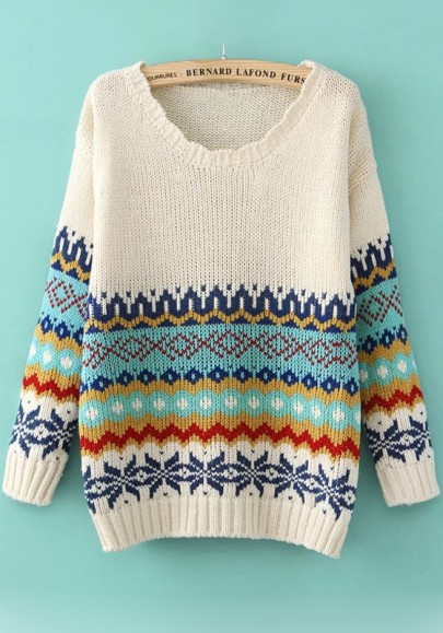 Fall sweater with geometric print
