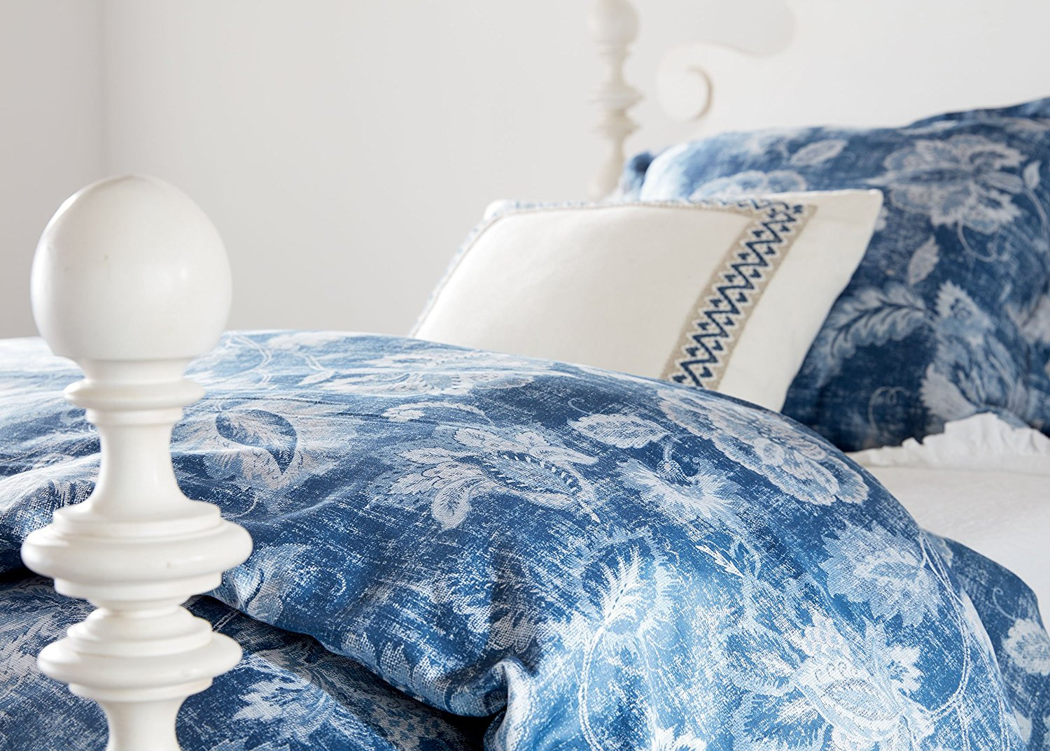 Ethan Allen Monikka Blue Floral Duvet Cover Full Queen